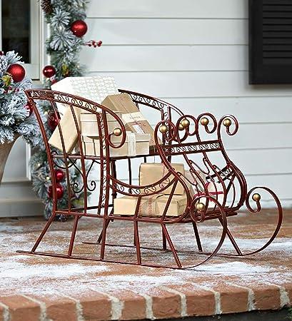 Amazon.com : Red Metal Holiday Sleigh : Garden & Outdoor