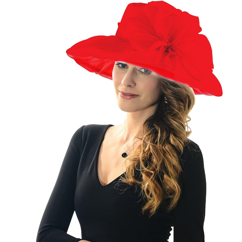 Acecharming Women's Summer Party Kentucky Derby Church Wide Brim Floral Organza Hat (Red)