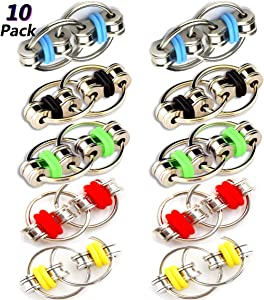 Biowow 10 PCS Anxiety Fidget Ring,Flippy Chain Fidget Toy Perfect for ADHD, Anxiety, and Autism Stress Reducer for Adults and Kids