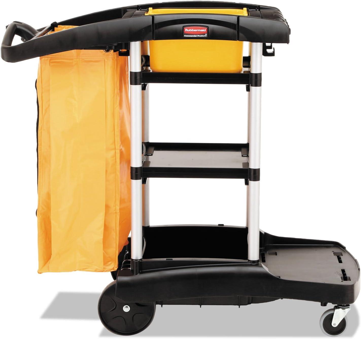 Rubbermaid 9T7200BK High Capacity Cleaning Cart, 21-3/4w x 49-3/4d x 38-3/8h, Black
