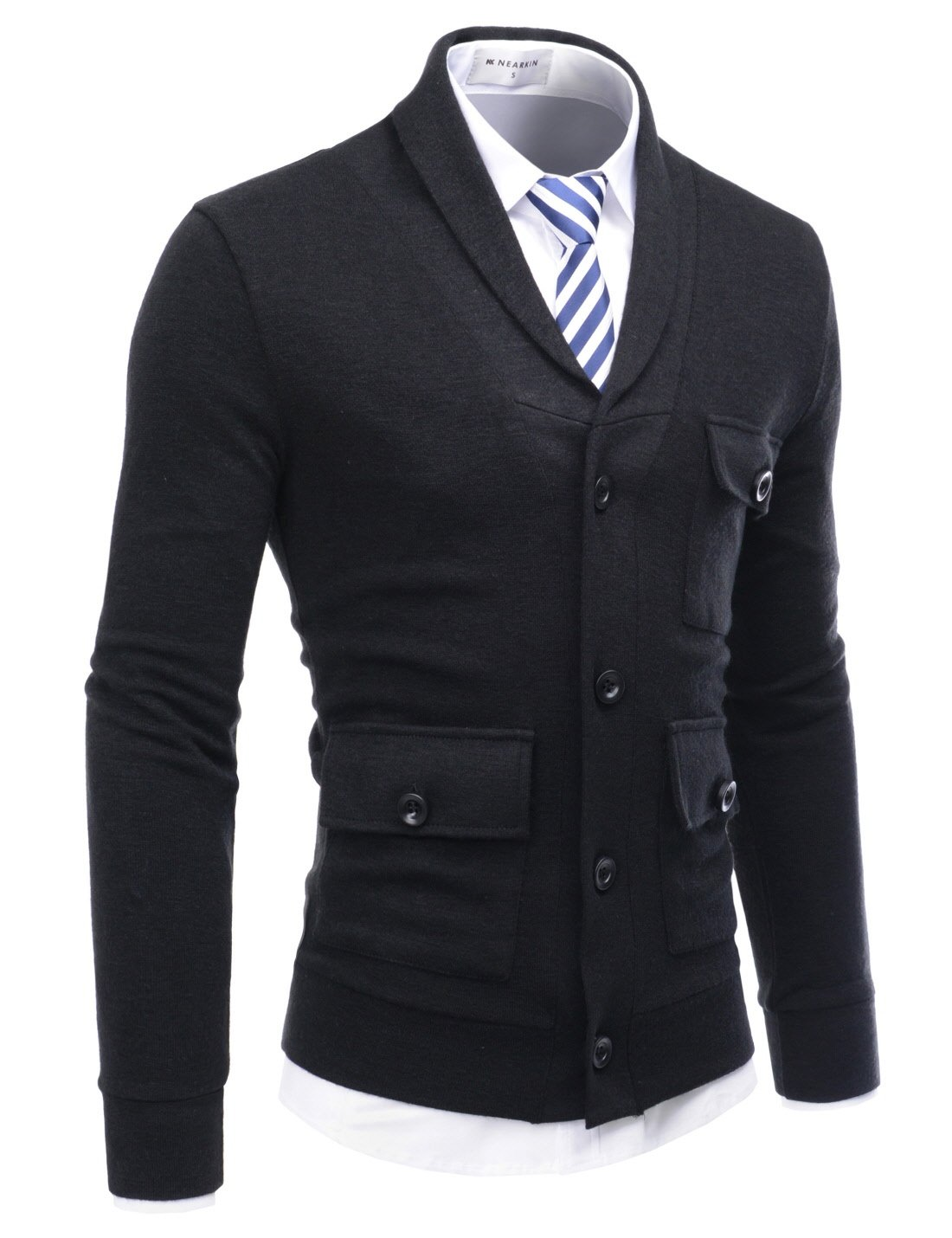 NEARKIN (NKNKCD133) Beloved Mens City Casual Shawl Collar Urbane Knitted Cardigan BLACK US M(Tag size M)