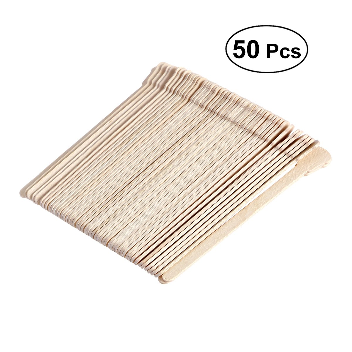 Frcolor Wooden Tongue Depressor Disposable Waxing Spatulas Wax Stick (Original Wooden Color), 50pcs