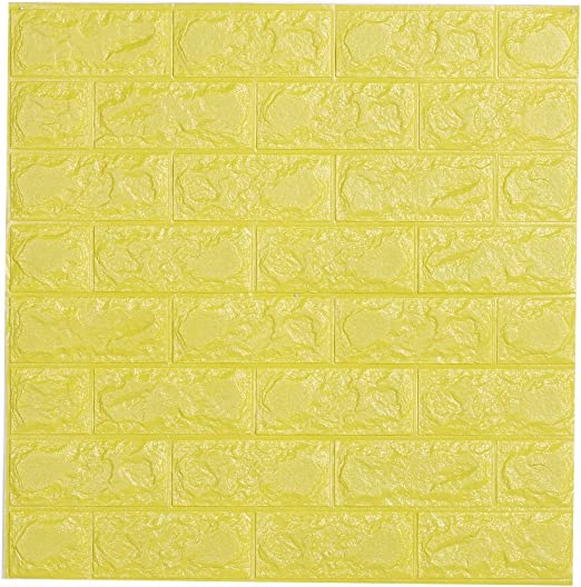Amazon Com Childplaymate 3d Wallpaper Brick Foam Wall Stickers For Bedroom Living Room Background Tv Decor Yellow Home Kitchen