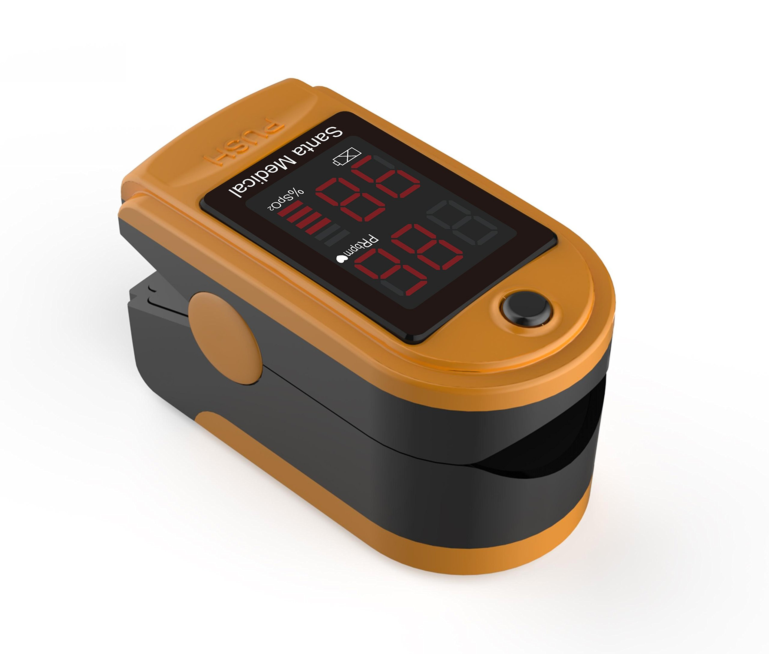 Santamedical Generation 2 Fingertip Pulse Oximeter Oximetry Blood Oxygen Saturation Monitor with carrying case, batteries and lanyard (Orange)