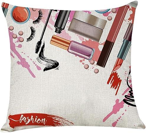 Rusaly Funda Cojin 45x45 Algodón Lino, Decoración del Hogar, Tema de Maquillaje, Almohada Caso Decorativo Cojines para Sofá Silla Cama (H): Amazon.es: Hogar