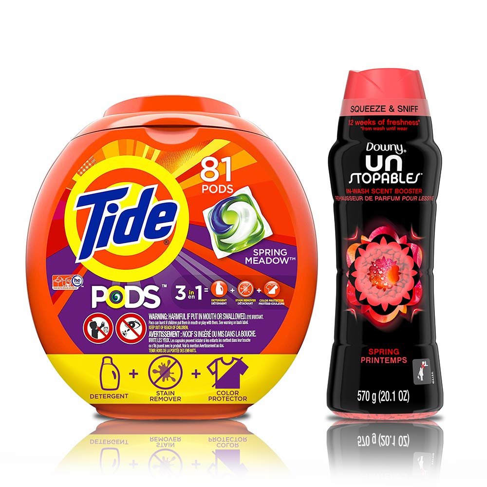 Tide PODS 3 in 1 HE Turbo Laundry Detergent Pacs, Spring Meadow Scent, 81 Count Tub with In-Wash Scent Booster Beads, Spring, 20.1 Ounce