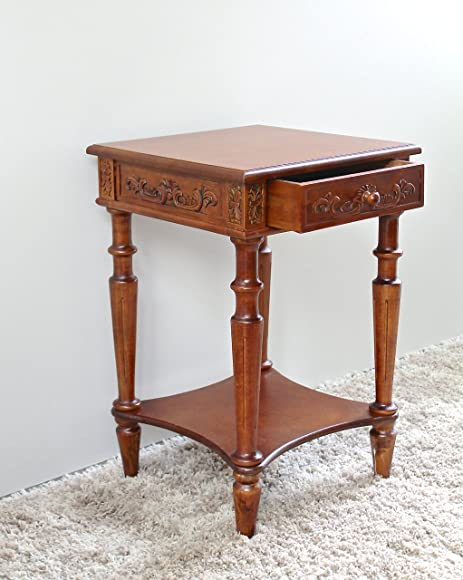 International Caravan 3859-IC Furniture Piece Carved Wood Square Table