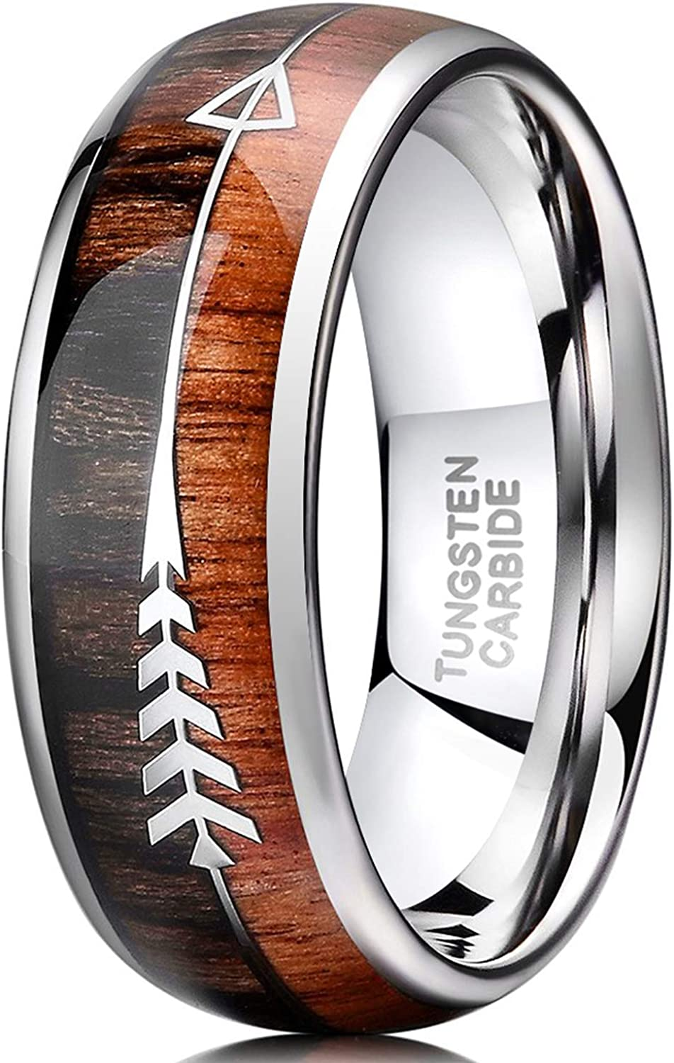 TRUMIUM 8mm Tungsten Wedding Ring Koa Wood Arrows Inlay Vikings Hunting Ring Band Dome Comfort Fit Size 6-13