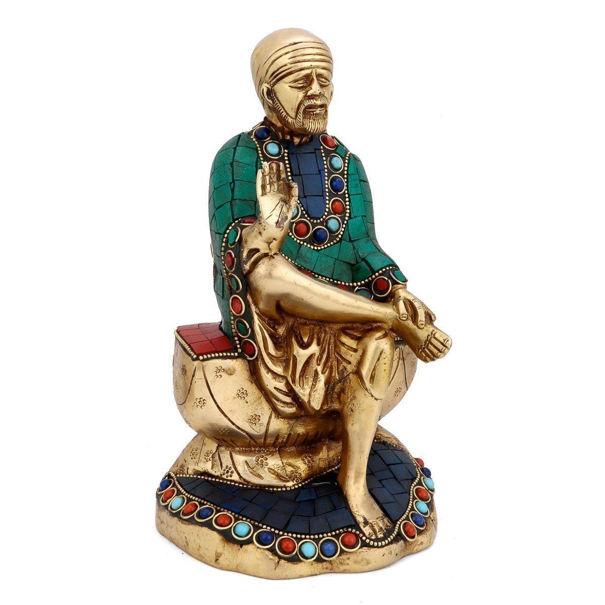 Aone India 10 Inches Sai Baba Shirdi Idol Saibaba Sairam Hindu Brass Turquoise Sai Baba Figurine Gift + Cash Envelope (Pack Of 10)