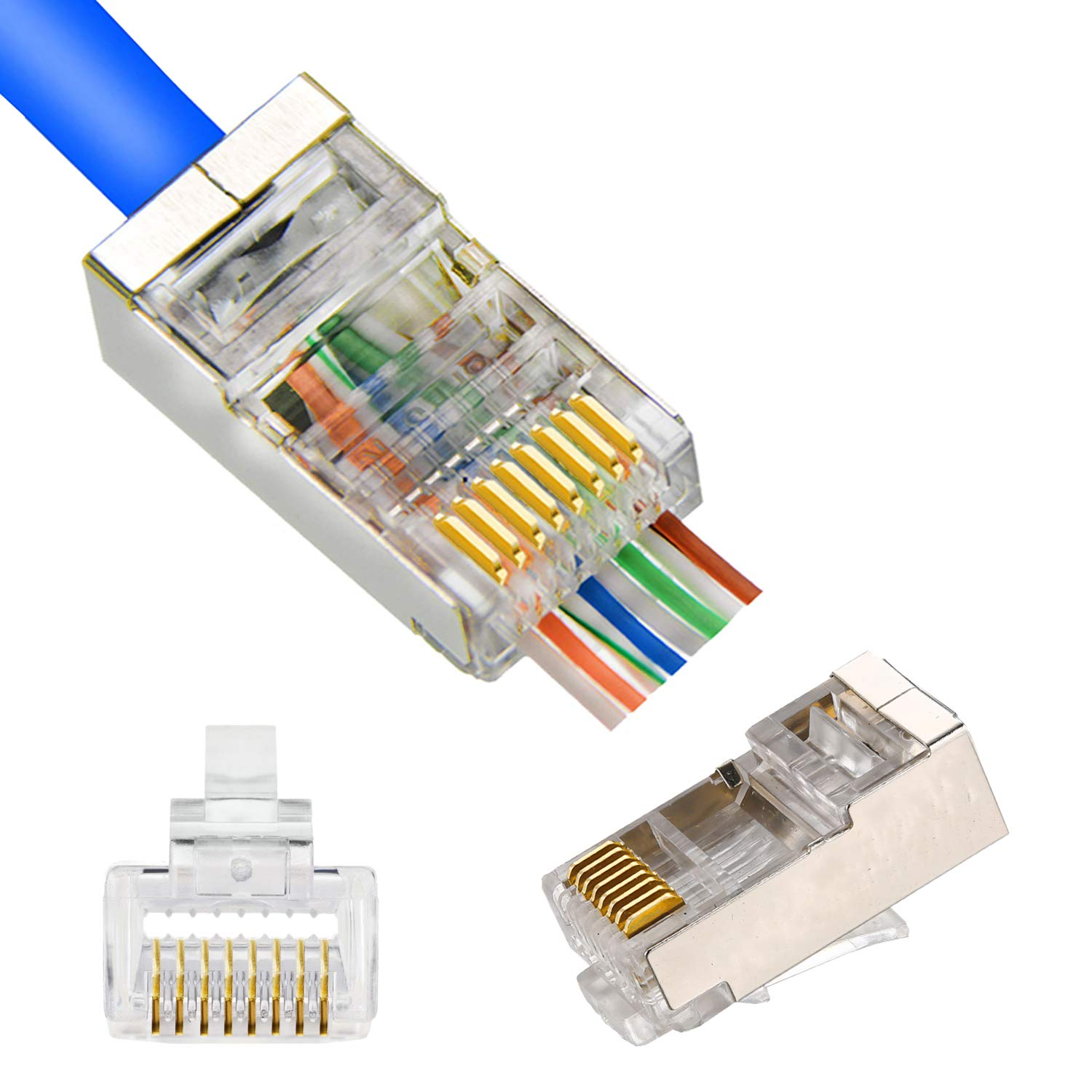 RJ45 CAT5 CAT6 Shielded Connector End Pass Through Gold Plated Ethernet 8P8C 3u Modular Plug 20Pack