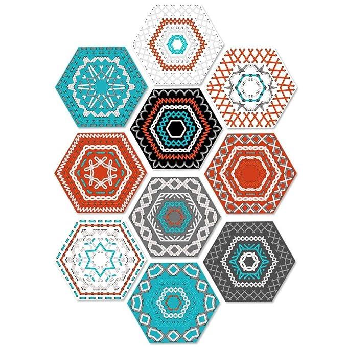 Pawaca 10 Stuck Fliesenaufkleber Sechseck Sticker Selbstklebend Fliesen Wasserdicht Wandaufkleber Mosaik Dekoratives Badezimmer Und Kuche