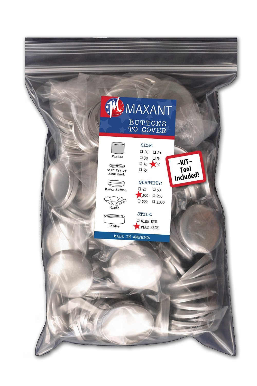 100 Buttons to Cover - Made in USA - Self Cover Buttons with Flat Backs - Size 20 (13mm) with Tool Maxant Buttons