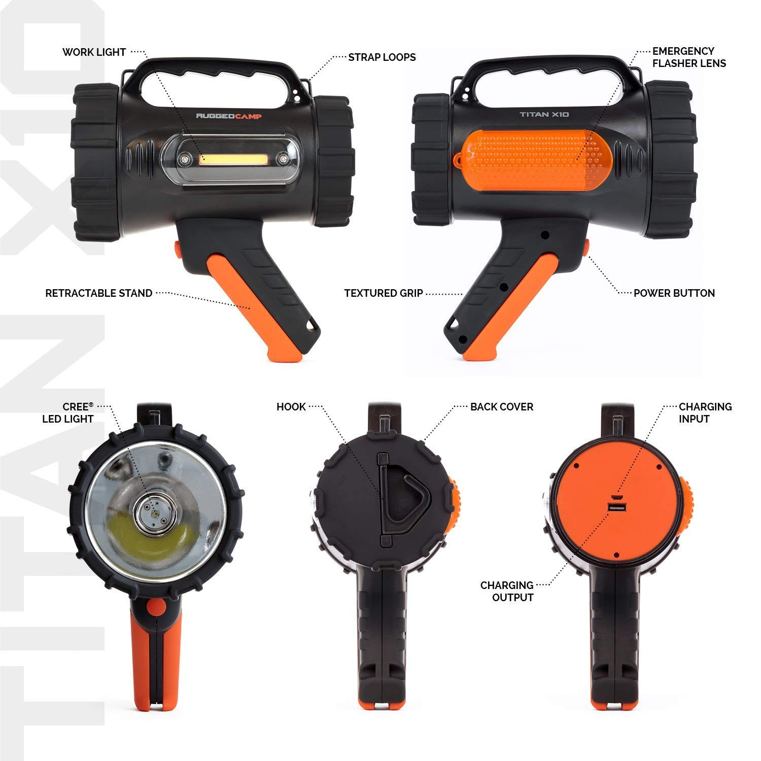 Rugged Camp Titan X10 Rechargeable Spotlight - 1000 Lumens - High Powered 10W LED Bright Flashlight - Work Light & Tripod - Perfect for Camping, Hiking, Hunting, Emergencies & Outdoors (Black/Orange) by Rugged Camp (Image #9)