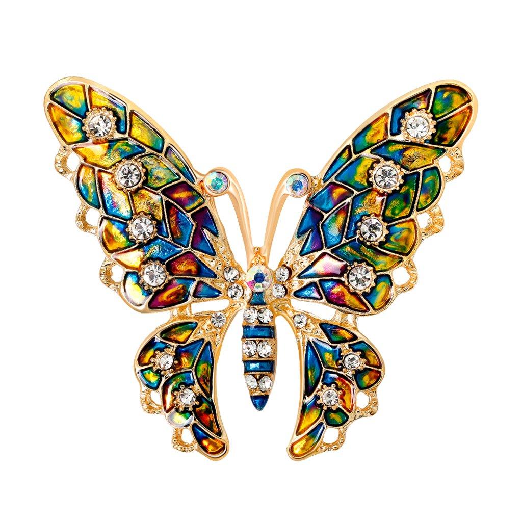 Baoblaze Vivid Women's Enamel Crystal Cute Butterfly Insect Brooch Scarf Collar Pin