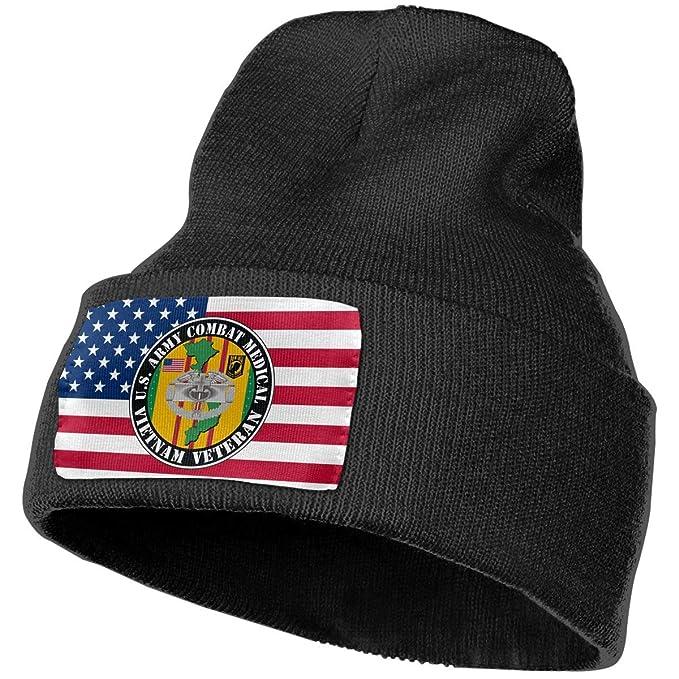616da063943 U.S. Army Combat Medical Vietnam Veteran Men Women Warm Winter Knit Plain Beanie  Hat Skull Cap Acrylic