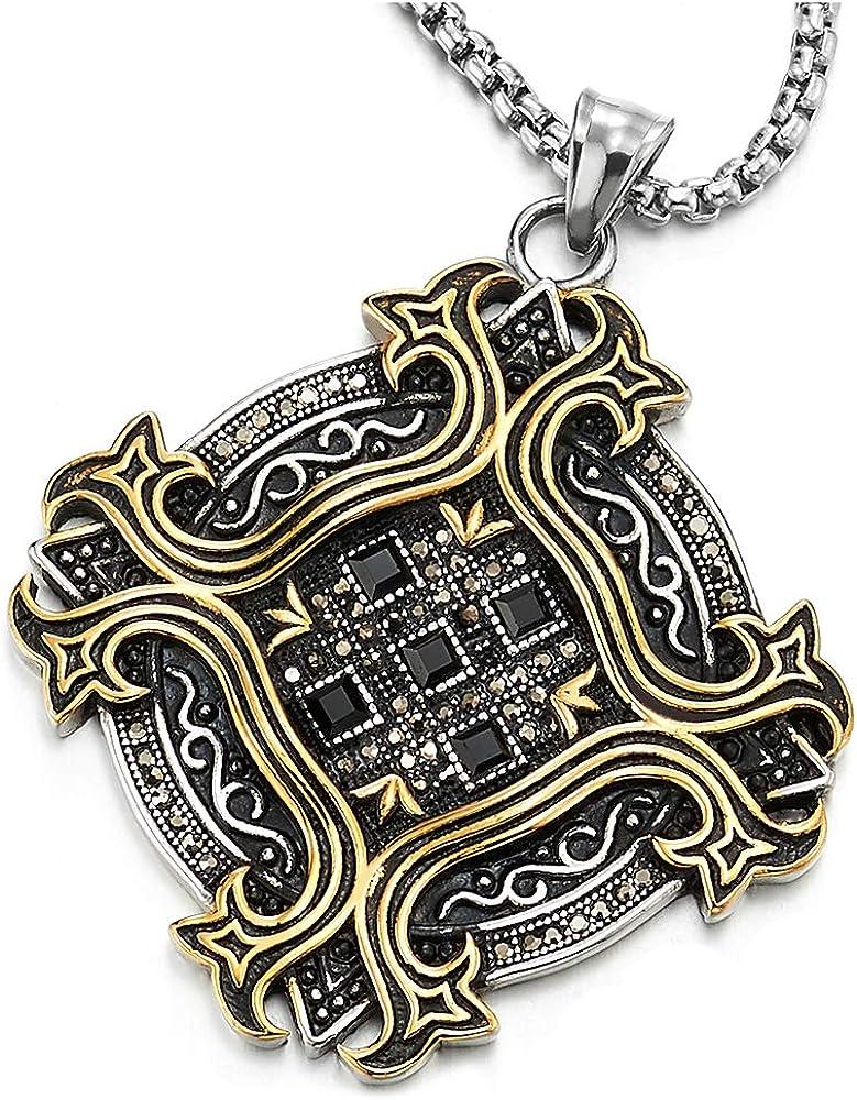 iMETACLII Antiguo Medalla Colgante con GrisNegro Zirconio Cúbico, Collar de Hombre, Acero Acabado Rugoso Plata Oro