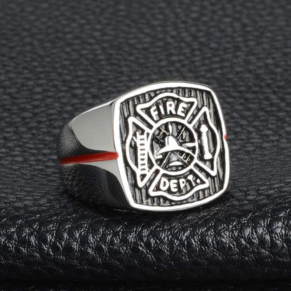 chevali/ère /émail Rouge en Acier Inoxydable de qualit/é sup/érieure FD Argent NA Bague pour Homme Pompier Professionnel
