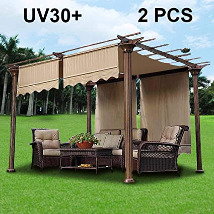 2pcs 15.5x4 Ft Pergola Shade Canopy Replacement Waterproof Polyester Cover  Tan UV30+ With Structure Valance