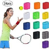 Mischen INHEMi 12 Paar Absorbierende Schweissband f/ür Tennis Squash Badminton Turnhalle Basketball Unisex Adult