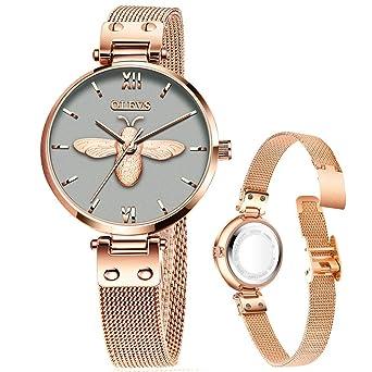 Amazon.com: Relojes de moda para mujer con malla de oro rosa ...