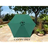 9ft Umbrella Replacement Canopy 6 Ribs in Green (Canopy Only)
