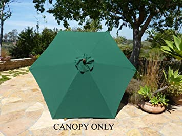 9ft Umbrella Replacement Canopy 6 Ribs in Green (Canopy Only) & Amazon.com : 9ft Umbrella Replacement Canopy 6 Ribs in Green ...