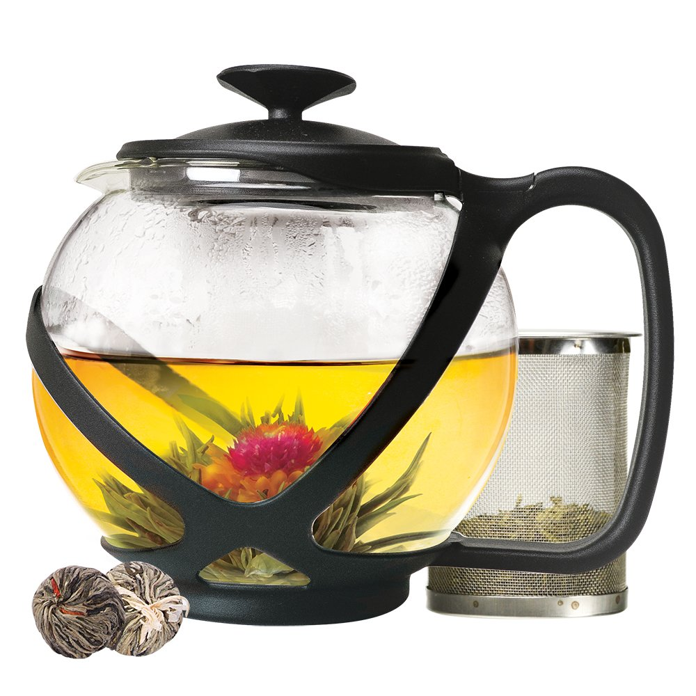Primula PTA-2340 Tempo Glass Teapot with 2 Flowering Teas, 40 oz, Black, 40 Ounces,