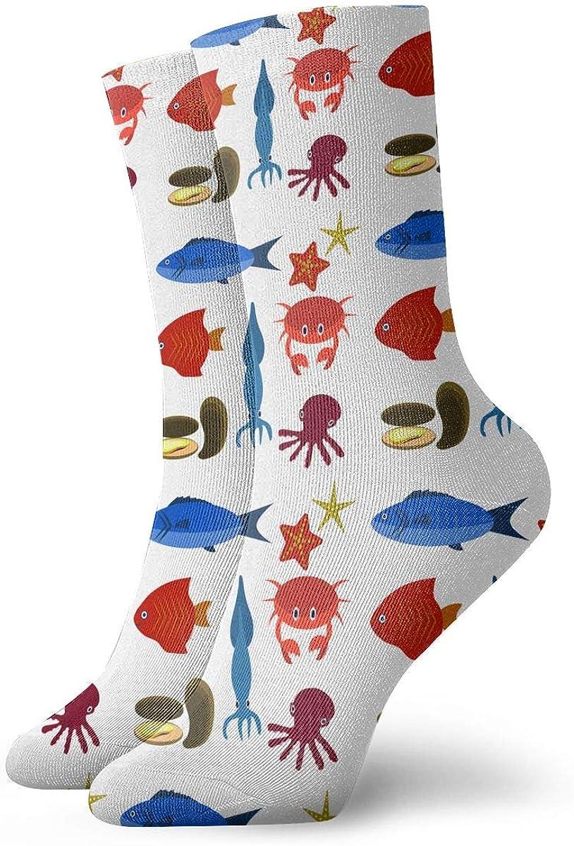 Mens Fashion Performance Polyester Socks Big Set Of Sea Creatures Casual Athletic Crew Socks.