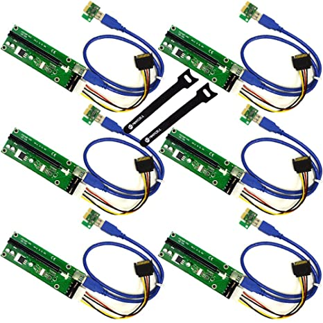amazon com mintcell 6 pack pcie 4 pin molex pci e 16x to 1x powered