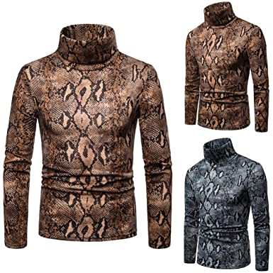 705eec210e870e TaLs9yLI Sweaters for Men Winter Snakeskin Print High Neck Long Sleeve Jumper  Men Slim Fit Pullover
