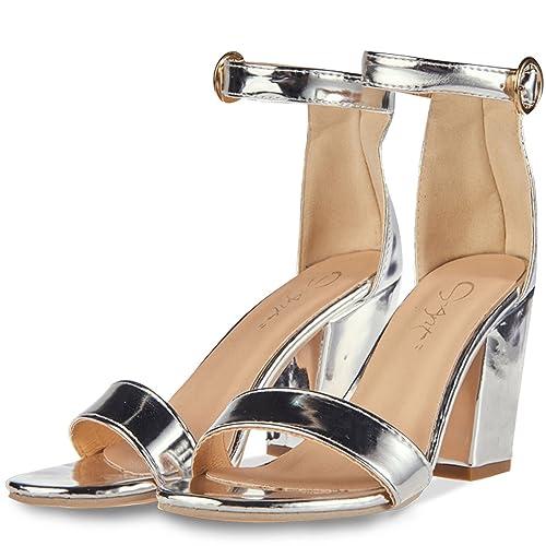 31f35e2d12d JSUN7 Women s Chunky High Heel Sandals Silver Block Ankle Strap with Buckle  Sandal Stiletto Heels Fashion
