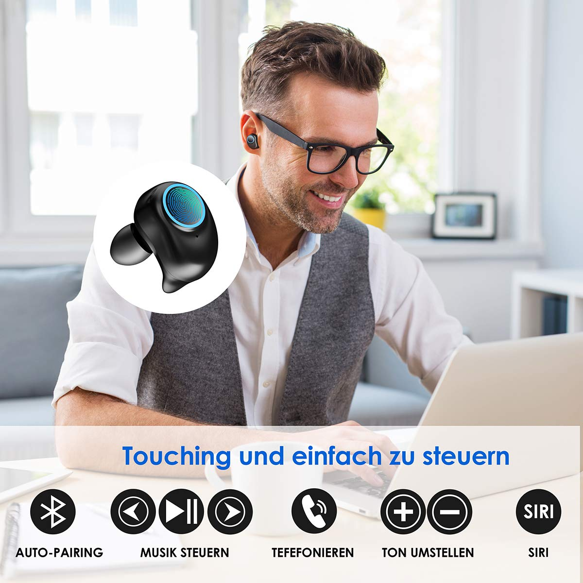Bluetooth Kopfhörer, WU-MINGLU Bluetooth 5.0 Kopfhörer in Ears Kabellose HiFi Headset IPX5 Wasserdicht Ohrhörer Stereo-Sound Earbuds für alle Bluetooth Geräte, Sport, Entspannung