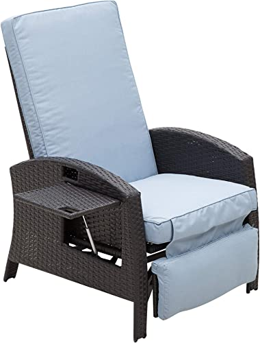 Outsunny Patio Wicker Recliner Outdoor Adjustable Lounge Chair