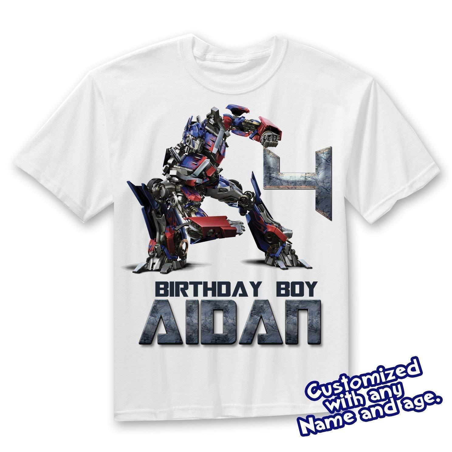 Amazon Transformers Birthday Shirt Add Name AGE Optimus Prime Personalized Custom T Handmade