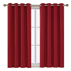 Deconovo True Red Blackout Curtains for Kitchen Grommet Top Short Curtain Panels Window Treatments 52x45 Inch 2 Panels