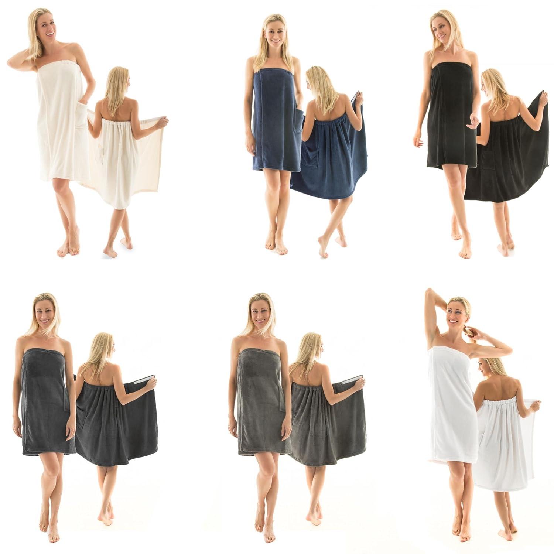 Celinatex Kilt Sauna da donna, pile, chiusura in velcro, una tasca, leggero, mod. Malaga, morbido, soffice, ideale per sauna, Poliestere, Antracite, S/M 5000446