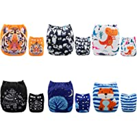 Alva Baby 6pcs Pack Fitted Pocket Cloth Diaper with 2 Inserts Each 6DM23-AU