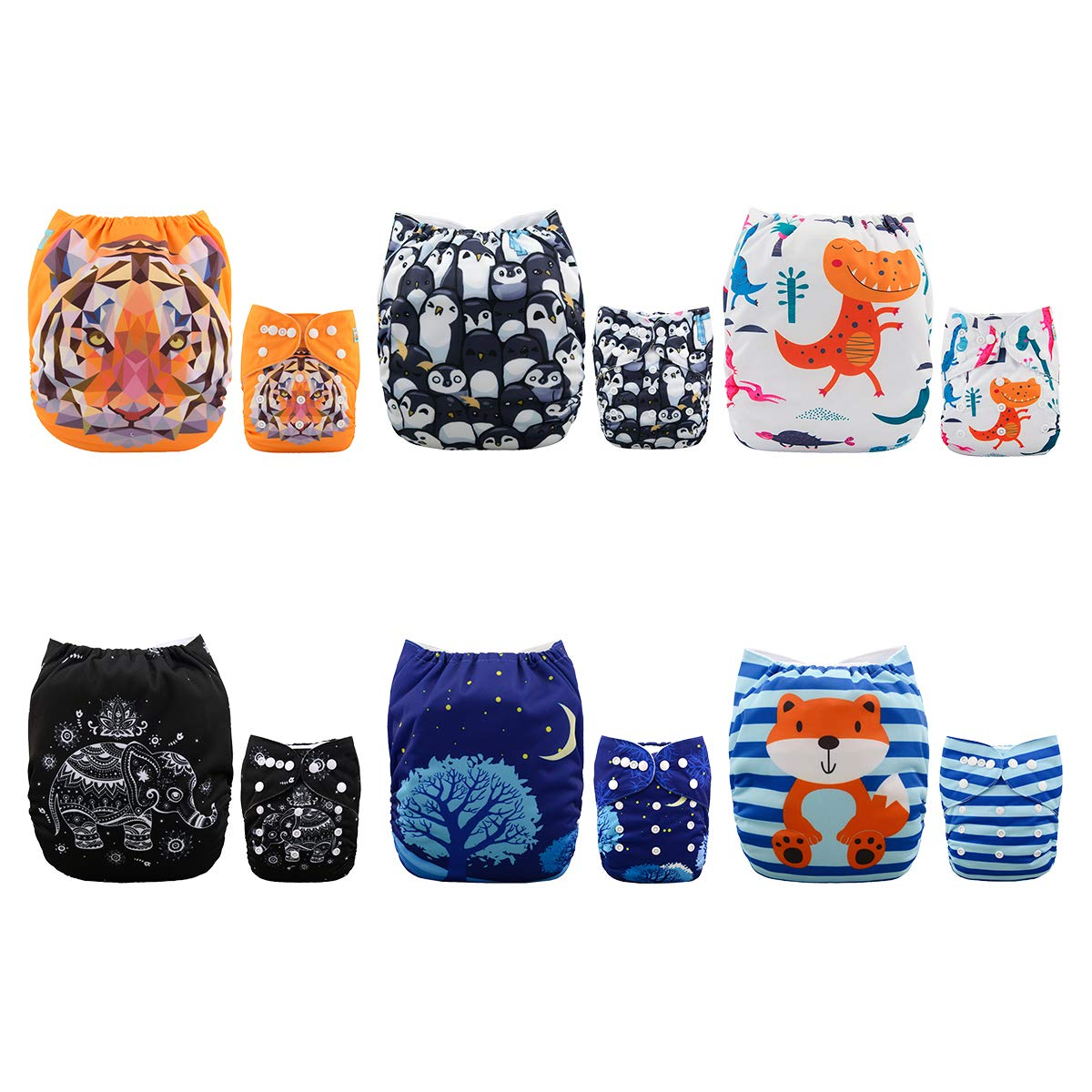 ALVABABY New Design Reuseable Washable Pocket Cloth Diaper 6 Nappies + 12 Inserts 6DM23 by ALVA (Image #1)