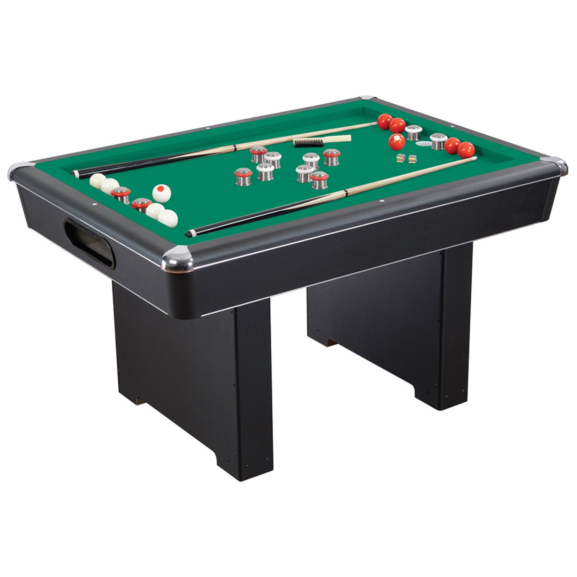 "Hathaway Renegade 54"" Slate Bumper Pool Table for Family Game Rooms with Green Felt, 48"" Cues, Balls, Brush and Chalk by Hathaway"