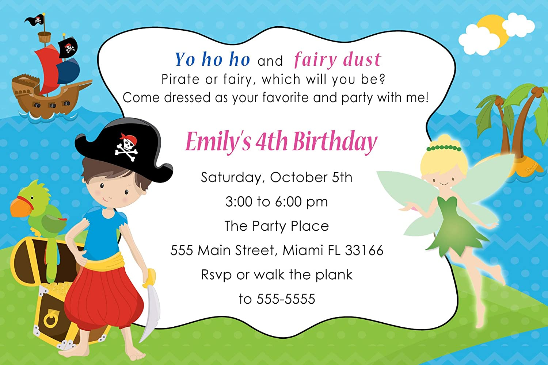 40 invitaciones personalizable pirata hada Pixie cumpleaños ...