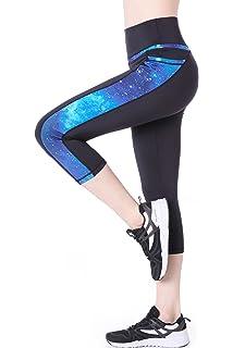 58c24ff265 Picotee Women's Yoga Pants High Waist Workout Capri Leggings Sports Running  Active Tights w Side Pocket