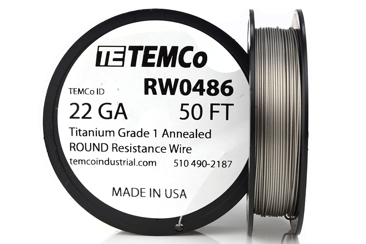 TEMCo Titanium Wire 22 Gauge 50 FT Surgical Grade 1 Resistance AWG ...