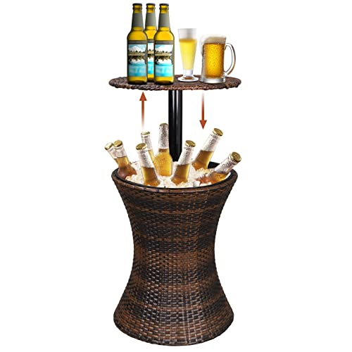 Super Deal 3in1 All-Weather Cool Wicker Bar Table Ice Bucket Cocktail Coffee Table All in One, Rattan Style Adjustable Height Patio Party Deck Pool Use, Brown