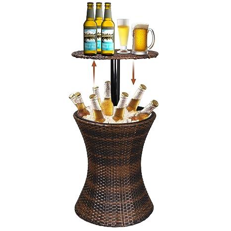 Amazon.com: Super Deal 3 en 1 mesa de bar de mimbre para ...