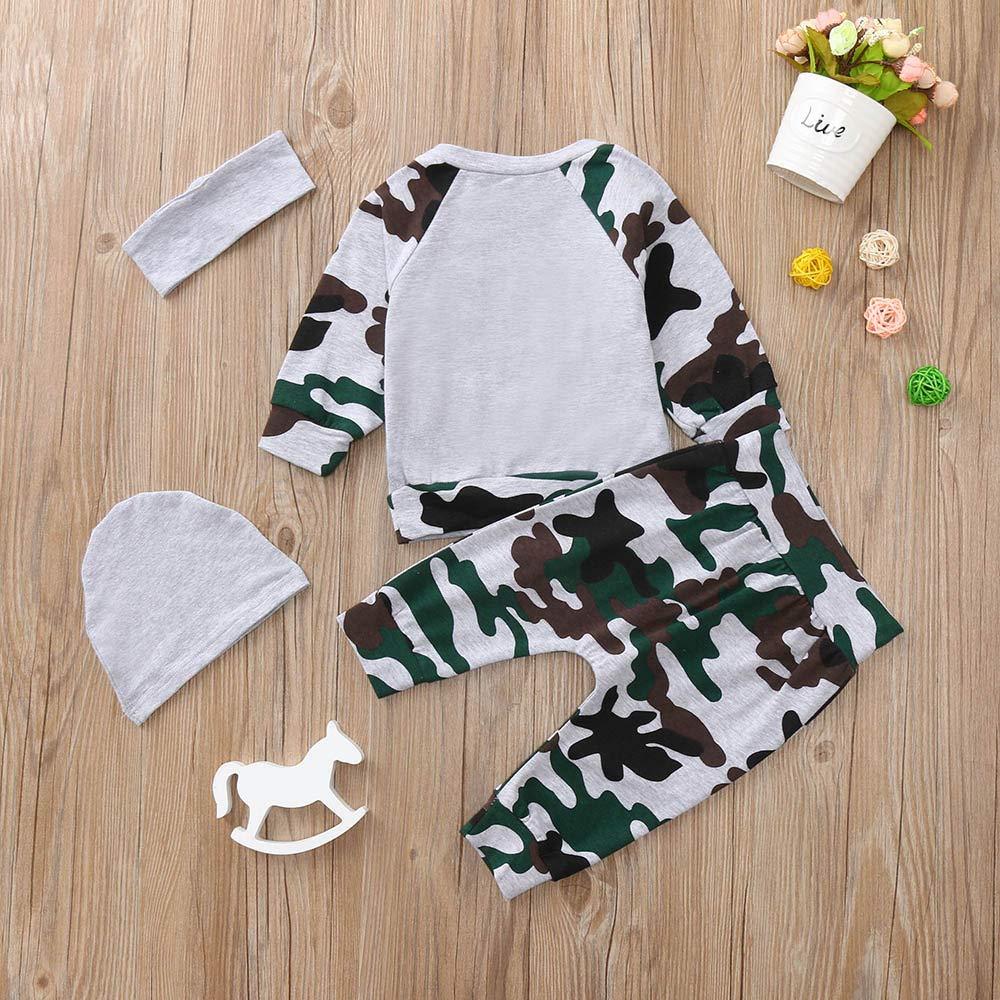Newborn Infant Baby Boy Long Sleeve T Shirt Tops Camouflage Pants Hat Clothes Outfits Set
