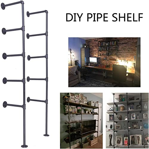 Topower Industrial French Country Style Decorative Pipe Wooden Wall ShelvesRustic DIYCeiling Pipe Shelf Wall Vintage Hung Bracket Industrial Shelves Five-Layer 2, Black