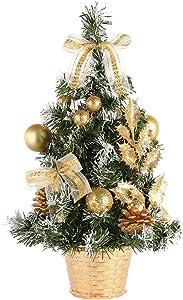 Ardorlove Mini Christmas Tree with Lights Tabletop Small Christmas Tree Desktop Decoration Tree Hanging Decorations Pine Tree for Home Office Shopping Bar 20/30/40cm
