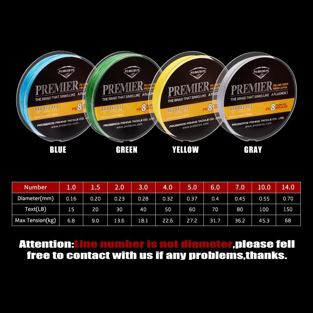BAIKALBASS Superpower Braided Fishing Line 4 Strands Stronger Multifilament PE Braid Wire for Saltwater 6LB-100LB 110yards 328yards 547yards Super Strong Superline