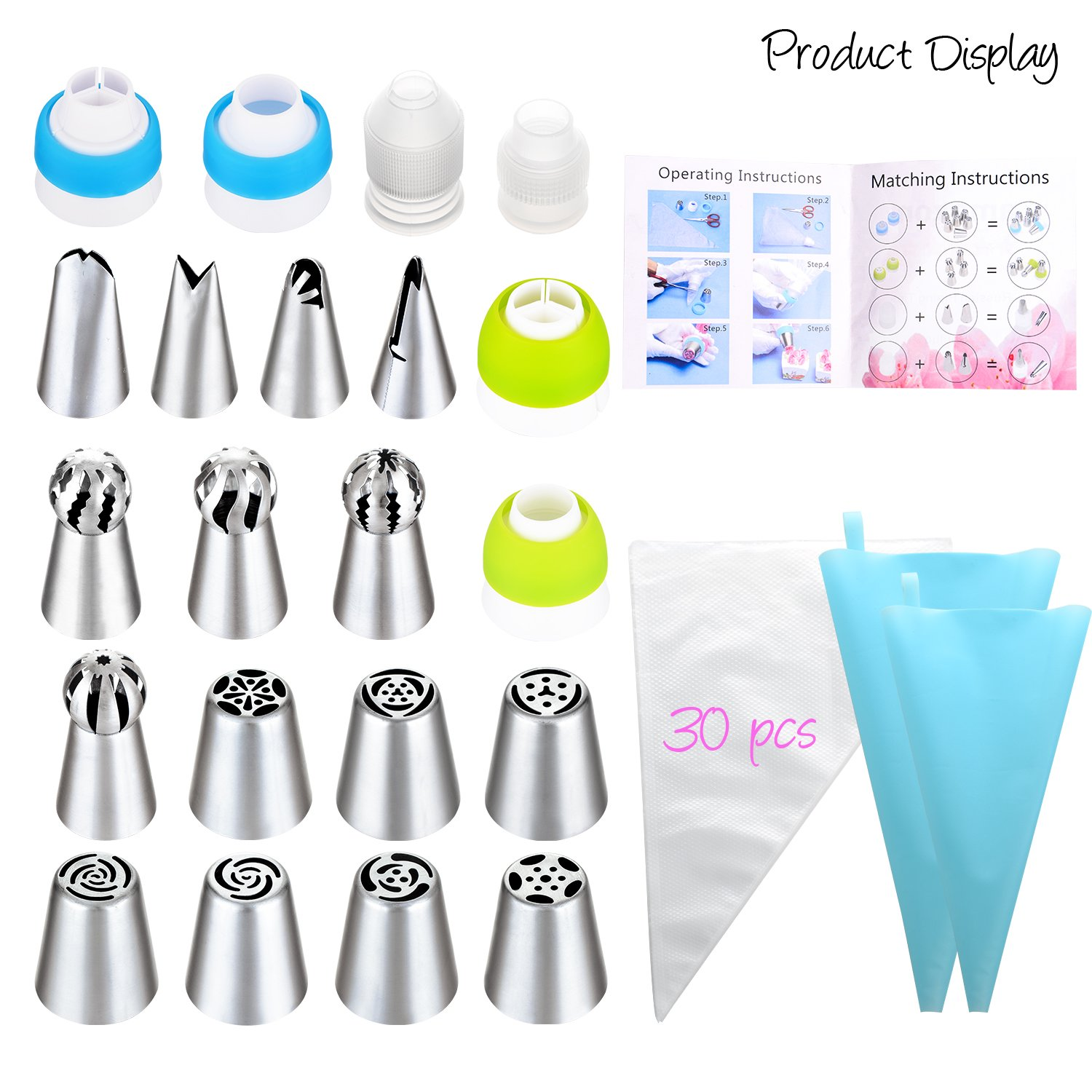 Russian Piping Tips Set - 53 pcs Cake Decorating Tips For cake, Muffins and Ice Cream Decoration Including 15 Unique Design Icing Piping Tips, 4 Couplers, 32 Bags with Gift Box for Mother's Day by Face Forever (Image #2)