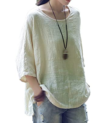 fe94ff6ffc KJY Womens Casual Cotton Linen Loose Solid T-shirt at Amazon Women s  Clothing store